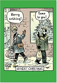 12 Boxed 'Atheist' Christmas Cards with Envelopes 4.63 x 6.75 inch, Happy Holiday Notes for Non-Christians, Non-Believers, Humorous, Sarcastic Cartoon Christmas Notes B2513XSG