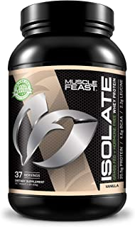 Muscle Feast Grass Fed Whey Protein Isolate, All Natural, Hormone Free, Fast Absorbing, 100% Pure Isolate, 20.5g Protein, 88 Calories (Vanilla, 2lb)