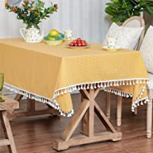 LUCKYHOUSEHOME Yellow and White Checkered Tassel Tablecloth Cotton Linen Rural Square Home Kitchen Dinning Tabletop Table ...