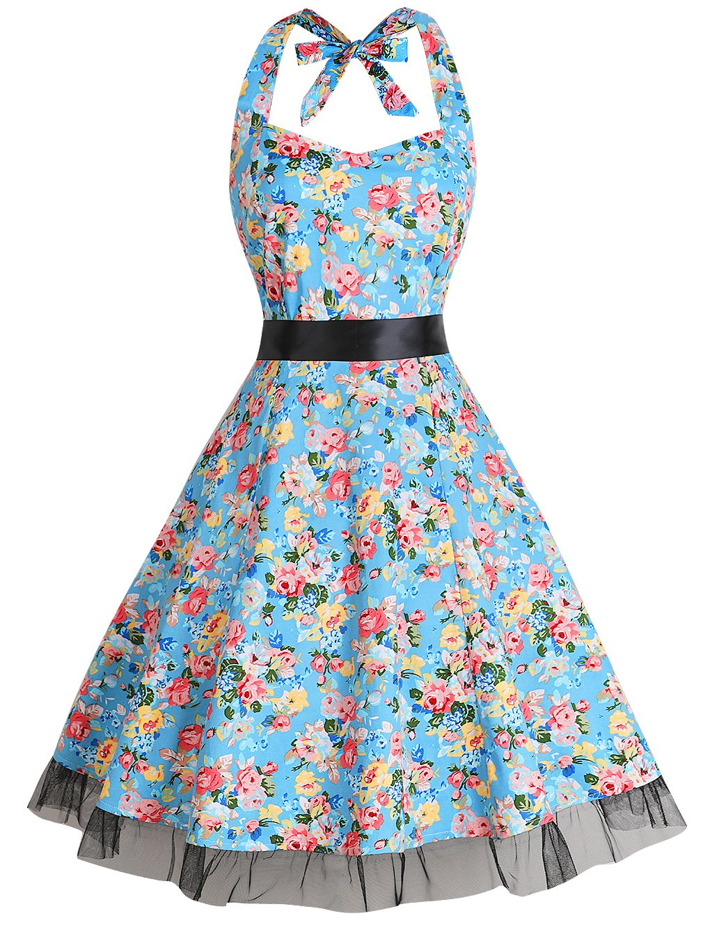 Available at Amazon: oten Women's Vintage Polka Dot Halter Dress 1950s Floral Sping Retro Rockabilly Cocktail Swing Tea Dresses