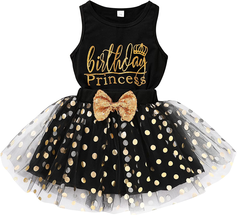 Toddler Kids Baby Girls Outfits Birthday Princess Vest Sleeveless Shirts Top + Dot Bubble Skirt 2PCS Summer Dresses Set