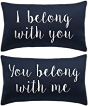 RUDRANSHA Pillowcase Set of 2 I Belong with You,You Belong with Me Pillow Cover Grey Pillow Lumbar Pillow Home Decor Throw Pillow Cover Farmhouse Decor (Navy(I Belong,You Belong), 12x20)