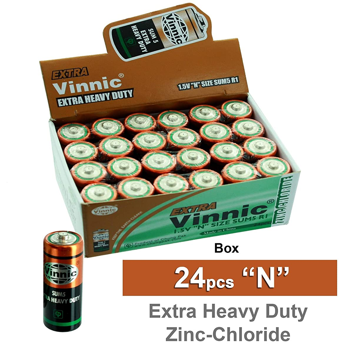 24pc VINNIC ER1NMSG N Size Extra Heavy Duty Eco Green Batteries Replaces 4001, 810, 910A, A910, AM5, E90, E90BP/2, KN, KN-1, KN-2, Lady, LR-N, LR01, LR1, MN9100, N, PC9100, UM5, VLR1