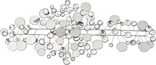 WHW Whole House Worlds Modernist Floating Circles, Abstract Metal Wall Art, Artisan Crafted, Roundels of Silver, Mirrors, Faux Multi Carat Diamonds, Iron, Over 3 Ft Long, Hangers on Back