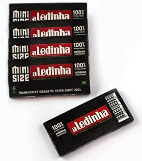 aLeda 5 booklets aLedinha Mini Size Clear Cellulose Rolling Paper from Brazil - 250 Papers