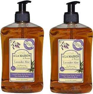 A La Maison de Provence Lavender Aloe Liquid Hand and Body Soap (Pack of 2) With Argan Oil, Olive Oil and Vitamin E, 16.9 fl oz Each