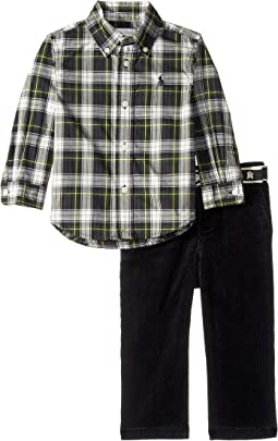 Plaid Shirt & Belted Pants Set (Infant)