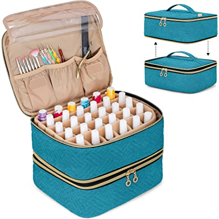 Luxja Detachable 2 Layers Nail Polish Organizer - Hold 60 Bottles (15ml - 0.5 fl.oz), Nail Polish Case with Tools Storage Pockets (Patented Design), Teal