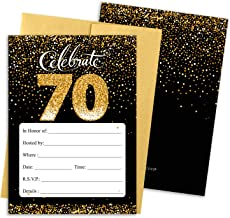 Black and Gold 70th Birthday Party Invitations - 10 Cards with Envelopes