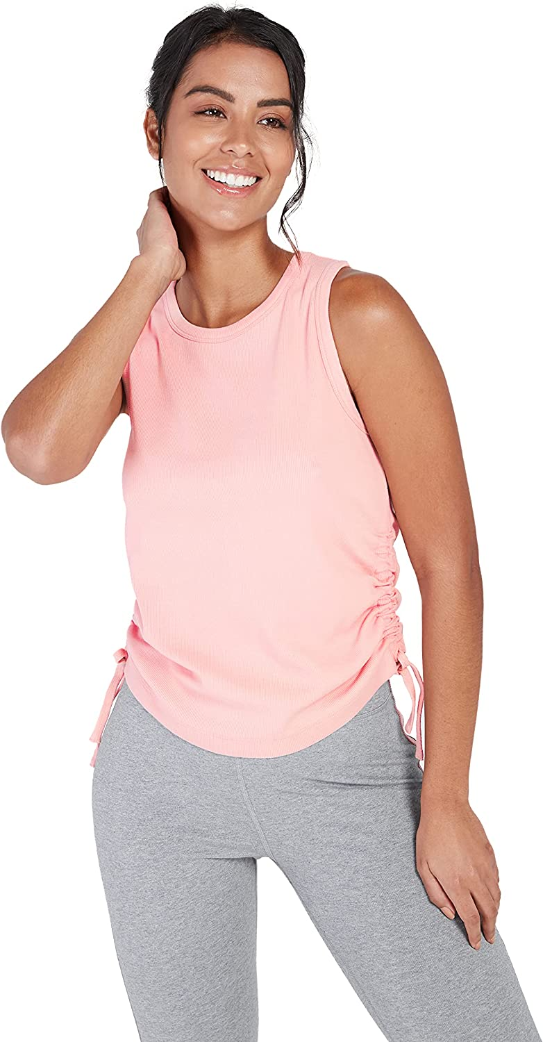 Satva Womens Soft Organic Cotton Tank Top with Ruched Sleeveless Crew Neck - Unity Rouched Tank