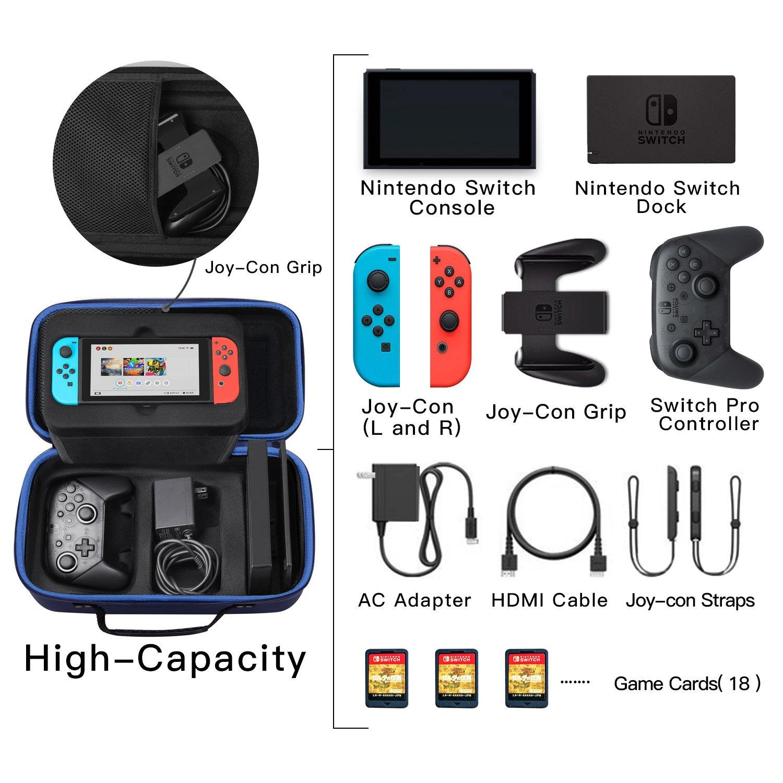 SHareconn Funda para Nintendo Switch, Portátil Duro de Viaje Bolsa de Almacenamiento con 18 Cartuchos de Juego para Nintendo Switch Consola,Controlador Pro,Switch Dock (Azul): Amazon.es: Electrónica