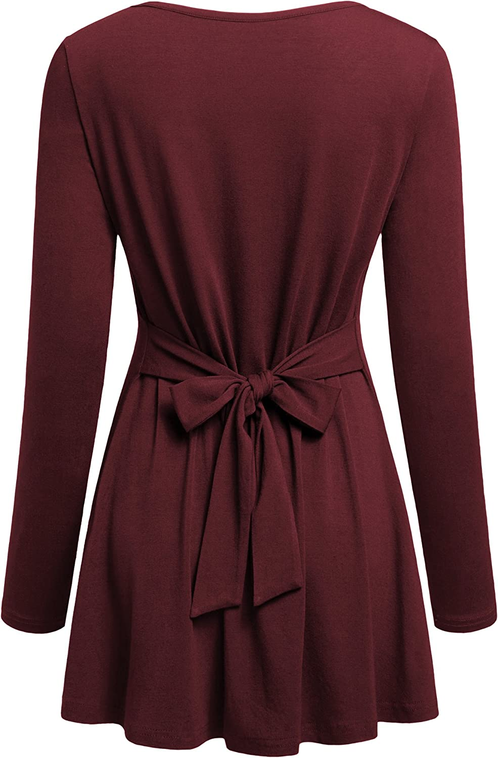 Lem&Hao Women Pleated Long Sleeves Scoop Neck Shirt Back Knot Casual Tunic Tops