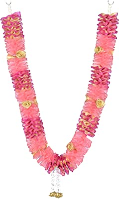 Daedal crafters Artificial Net Ribbon Garland And Roses (Pink And Dark Pink)