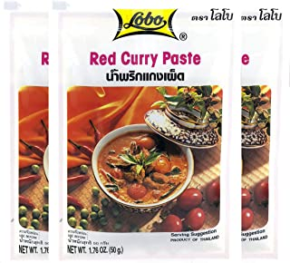 Lobo Thai Red Curry Paste - No MSG, No Preservatives, No Artificial Colors (Pack of 3)