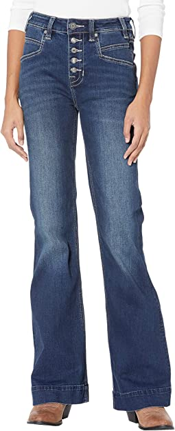 High-Rise Trousers with Full Button Clouser in Dark Vintage W8H6092