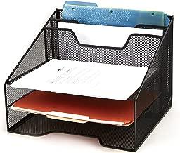 Mind Reader Mesh Desk Organizer 5 Trays Desktop Document Letter Tray for Folders, Mail, Stationary, Desk Accessories, Black
