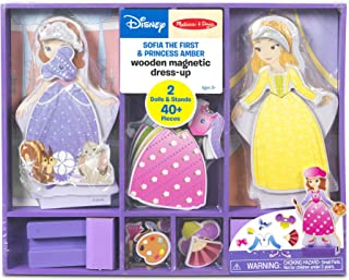 Melissa & Doug Disney Sofia the First and Princess Amber Magnetic Dress-Up Wooden Doll Pretend Play Set