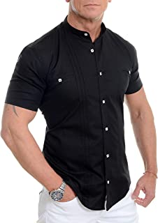 D&R Fashion Men's Shirt with Short Sleeve Grandad Collar and Decorative Vertical Lines
