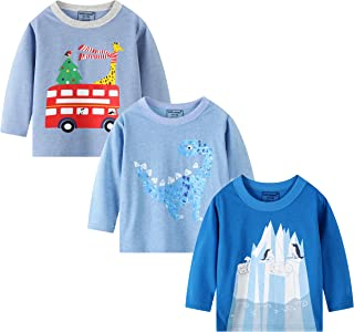 BIBNice Boys Shirts Kids Long Sleeve Tee Kids Cotton Top 3 Pack Size 6T