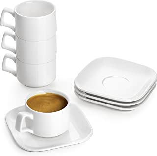 DOWAN Porcelain Espresso Cups with Saucers, 4 Oz Coffee Cup and Saucer Set, White, Set of 4