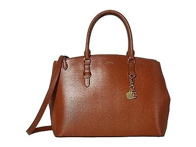 LAUREN Ralph Lauren Saffiano Double Zip Satchel Large (Lauren Tan) Satchel Handbags