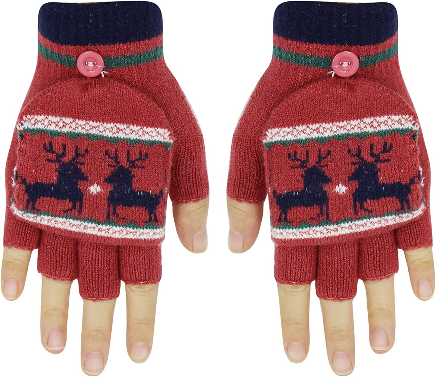 Cute Deer Winter Knit Flap Cover Gloves Stretchy Warm Convertible Mittens Gift for Women Men Couples