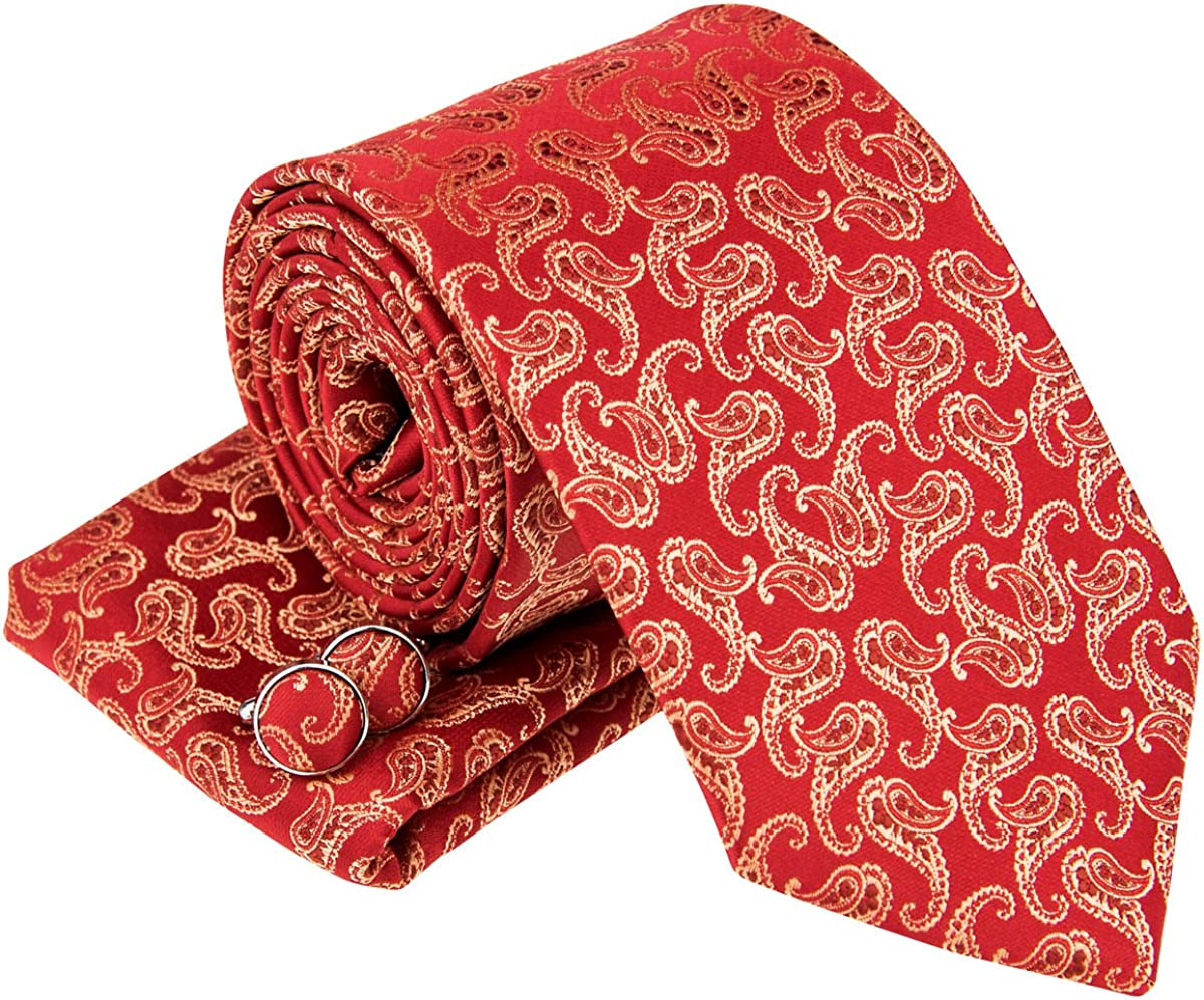 Classic Paisley Pattern Woven Men's Tie Necktie w/Pocket Square & Cufflinks Gift Set