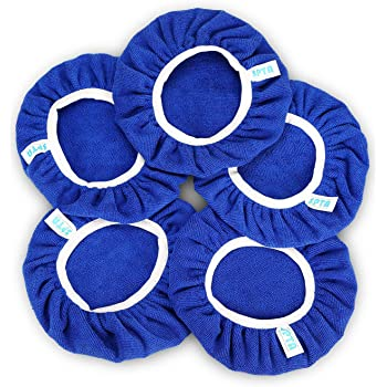 """SPTA 9 Inch & 10 Inch Car Polisher Pad Bonnet Soft Microfiber Polishing Bonnet Buffing Pad Cover for 9"""" and 10"""" Car Polisher Pack of 5Pcs"""