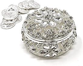 CB Accessories Wedding Unity Coins - Arras de Boda - Round Shaped Flower Box with Decorative Rhinestone Crystals 16 (Silver)