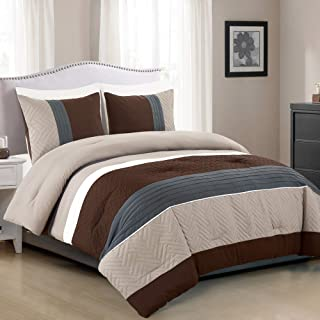 WPM 2 Piece Modern Design Twin Comforter Set. Multicolor Grey/Coffee Brown/Beige Taupe Color All Season Down Alternative B...