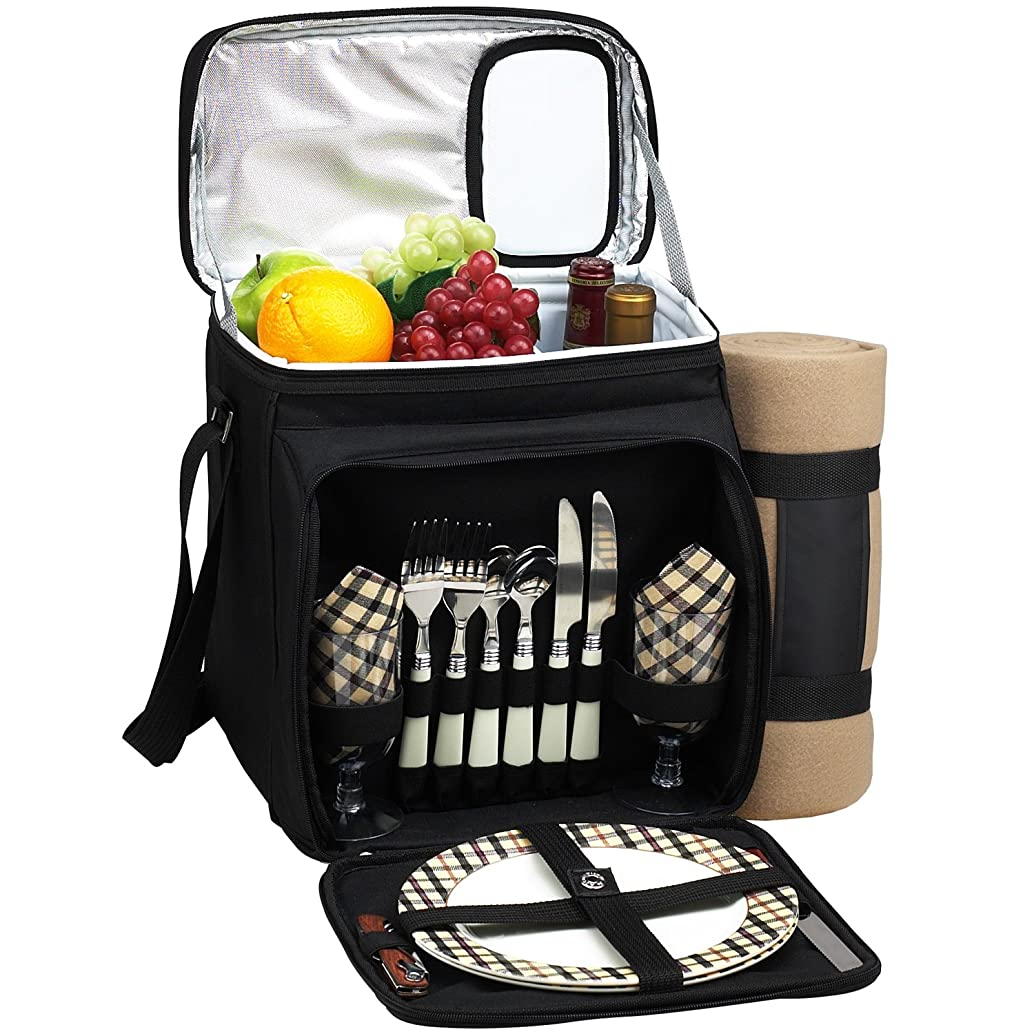 Picnic at Ascot Insulated Picnic Basket/Cooler Fully Equipped for 2 with Blanket - Black