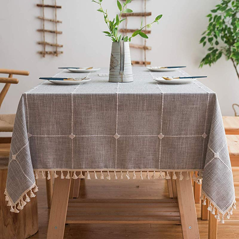 Mokani Washable Cotton Linen Solid Embroidery Checkered Design Tablecloth Rectangle Table Cover Great For Kitchen Dinning Tabletop Buffet Decoration 55 X 70 Inch Gray