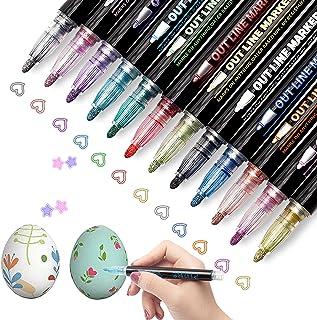 Double Line Outline Pens Markers - 12 Colors Self Outline Metallic Markers,Doodle Dazzle Markers Double Line Pen for Art,D...