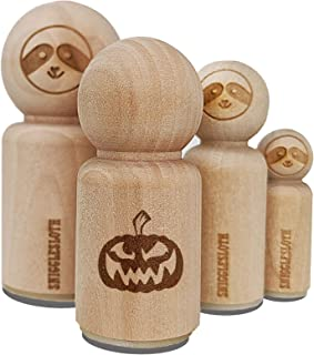 Sinister Halloween Jack-o'-Lantern Pumpkin Rubber Stamp for Stamping Crafting Planners - 1/2 Inch Mini