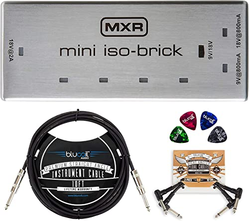 wholesale MXR M239 high quality Mini Iso-Brick Isolated Power Supply for Effects Pedals Bundle with Blucoil 10-FT Straight Instrument outlet sale Cable (1/4in), 2-Pack of Pedal Patch Cables, and 4-Pack of Celluloid Guitar Picks online