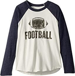 Super Soft Football Print Long Sleeve Raglan Tee (Little Kids/Big Kids)