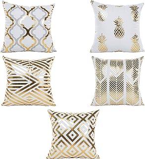 S-TROUBLE 5 Piezas Moderno Estampado de lámina de Oro Funda de Almohada con Estampado de piña a Rayas de Flecha Funda de cojín Brillante metálico para sofá sofá Coche decoración del hogar