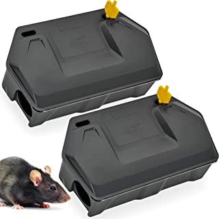 Rat Bait Station 2 Pack - Rodent Bait Station with Key Eliminates Rats Fast. Keeps Children and Pets Safe (2 Pack) (Bait not Included)