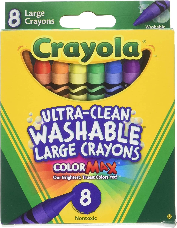 Crayola Washable Crayons, Large, 8 Colors/Box (52-3280) (4 Pack)
