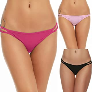 Bikini Panty Womens Seam Free String Microfiber Briefs 3 Pack Assorted Colors