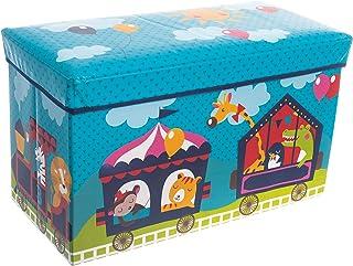 Bieco Förvaringslåda med lock barncirkus vikbar, sittpall med sittplats och stoppning, leksakslåda med förvaringsutrymme, ...