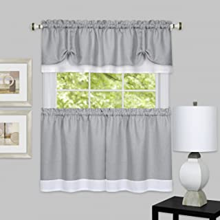 "Achim Home Furnishings, Grey/White chim Home Furnishings DRTV24GW12 Darcy Window Curtain Tier Pair & Valance Set, 58"" x 2..."