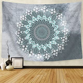 BLEUM CADE Tapestry Mandala Hippie Bohemian Tapestries Wall Hanging Flower Psychedelic Tapestry Wall Hanging Indian Dorm Decor for Living Room Bedroom (Teal, 59.1 x 59.1 inches)