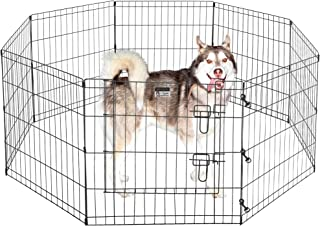 """2205 Pet Trex Premium Quality 24"""" Exercise Playpen for Dogs Eight 24"""" x 24"""" High Panels with Gate"""