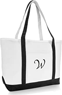 DALIX Premium Women's Tote Bags Large Tote Bag Personalized Gifts Black A - Z