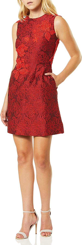 ML Monique Lhuillier Women's Brocade and Lace Dress