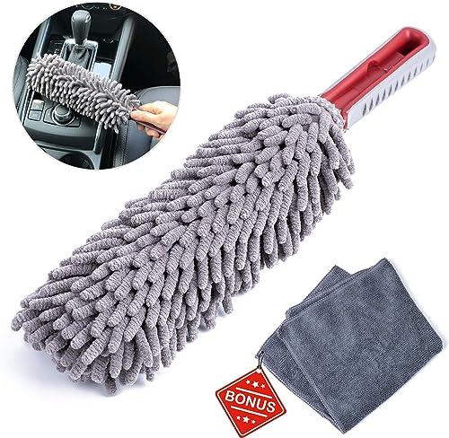 Interior Car Detail Duster - Free Microfiber Towel - 360° Microfiber Fingers - Lint Free - Unbreakable Comfort Handle...