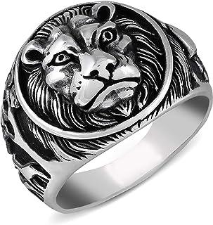 خاتم فضة للرجال من chiModa 925 مجوهرات تركية مصنوعة يدويًا على شكل أسد