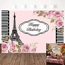 Mocsicka Happy Birthday Backdrop Paris Eiffel Tower Background Pink Flower Backdrops Black White Stripes Border Banner 7×5...