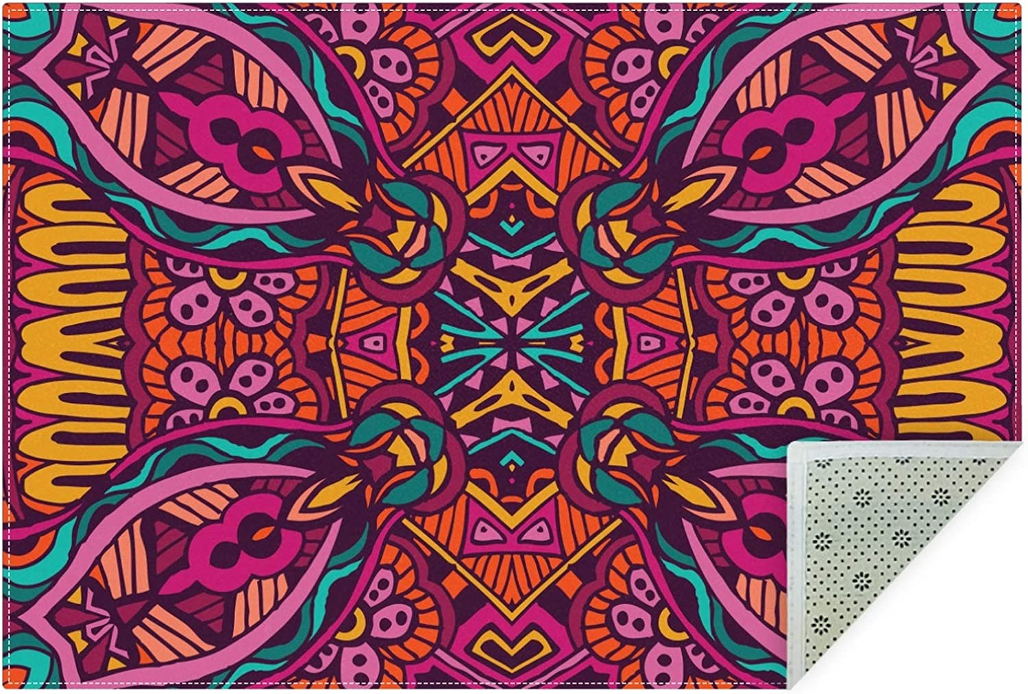 Vintage Ethnic Boho Flower Large Area Popular overseas Rugs Non-Slip Feet R 3x5 70% OFF Outlet
